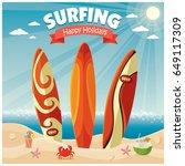 vintage poster beach design...   Shutterstock .eps vector #649117309