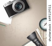 vector compact photo camera... | Shutterstock .eps vector #649119511