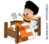 kid wake up in the morning... | Shutterstock .eps vector #649119814