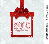 happy new year 2018 design ... | Shutterstock .eps vector #649124161