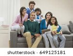 portrait happy multi generation ... | Shutterstock . vector #649125181