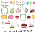cute and colorful hand drawn... | Shutterstock .eps vector #649128619
