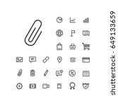 clip icon in set on the white...