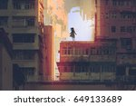 the mystic girl stands on a... | Shutterstock . vector #649133689