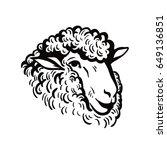 farm animals. sheep head sketch | Shutterstock .eps vector #649136851