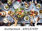 Small photo of Group of Diverse Friends Gathering Having Food Together
