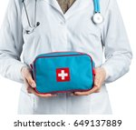 woman doctor with a stethoscope.... | Shutterstock . vector #649137889