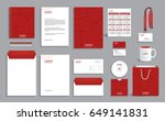 red business stationery set... | Shutterstock .eps vector #649141831