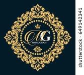 gold decorative floral frame... | Shutterstock .eps vector #649142341