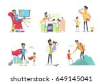 father and son or daughter... | Shutterstock .eps vector #649145041