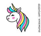 white unicorn vector head with... | Shutterstock .eps vector #649145959