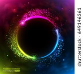color neon comets fly in a... | Shutterstock .eps vector #649146361