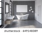 bathroom interior with a gray... | Shutterstock . vector #649148389