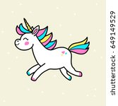 white vector unicorn patch with ... | Shutterstock .eps vector #649149529