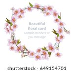 cherry blossom round card frame.... | Shutterstock .eps vector #649154701