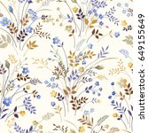 seamless floral pattern with... | Shutterstock .eps vector #649155649