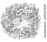vector illustration with octopus | Shutterstock .eps vector #649157029