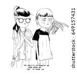 cool girl friends illustration | Shutterstock .eps vector #649157431