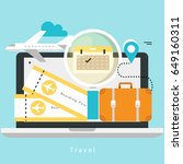 travelling by plane  summer... | Shutterstock .eps vector #649160311