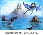 when a loved dragons ... | Shutterstock . vector #64916176