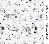 cute raccoon animal doodle hand ... | Shutterstock .eps vector #649162021