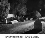 Graveyard Lit Up At Night Time