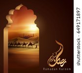 arabian traveller with camel on ...   Shutterstock .eps vector #649171897