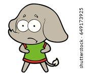 cartoon unsure elephant   Shutterstock .eps vector #649173925