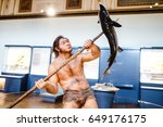 Small photo of 24 MARCH 2017, VIENNA, MUSEUM OF NATURAL HISTORY, AUSTRIA: Primitive homo hunters and fishermen at the exhibition in the museum