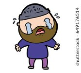 cartoon bearded man crying | Shutterstock .eps vector #649176514