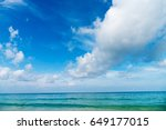 clear blue sea ocean with... | Shutterstock . vector #649177015