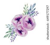 watercolor pink peonies banner | Shutterstock . vector #649177297