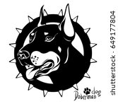 graphic vector drawing of a dog ... | Shutterstock .eps vector #649177804