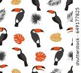 seamless toucan pattern. vector ... | Shutterstock .eps vector #649177825