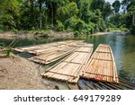 bamboo rafts on green tropical... | Shutterstock . vector #649179289