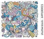 cartoon cute doodles hand drawn ... | Shutterstock .eps vector #649180021