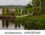 lake landscape in a summer... | Shutterstock . vector #649182964