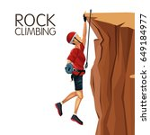 scene man hanging on the cliff... | Shutterstock .eps vector #649184977