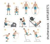 gym exercises machines sports... | Shutterstock .eps vector #649185571