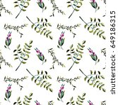seamless floral pattern with... | Shutterstock . vector #649186315