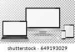 realistic computer monitor ... | Shutterstock .eps vector #649193029