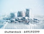 double exposure of coins and... | Shutterstock . vector #649193599