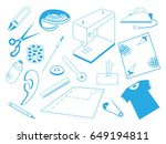 the sewing machine tools... | Shutterstock .eps vector #649194811