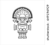 deity of the incas. black and... | Shutterstock .eps vector #649196929