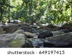 Small photo of forest river landscape with rocks