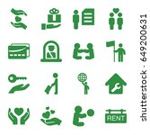 holding icons set. set of 16... | Shutterstock .eps vector #649200631