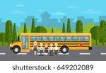 group of young school children... | Shutterstock .eps vector #649202089
