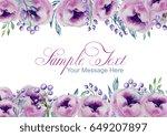 watercolor pink peonies frame | Shutterstock . vector #649207897