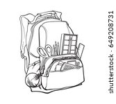 backpack packed with school...   Shutterstock .eps vector #649208731