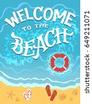 welcome to the beach. top view... | Shutterstock .eps vector #649211071